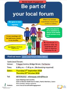 Laois Local Forun - Mental Health Engagement @ Triogue Centre, Portlaoise, Co. Laois | Portlaoise | County Laois | Ireland