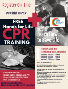 """Hands for Life"" CPR @ Killeshin Hotel"
